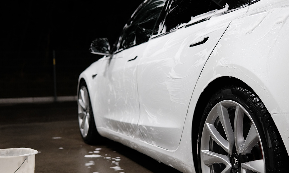 Image of a car being cleaned