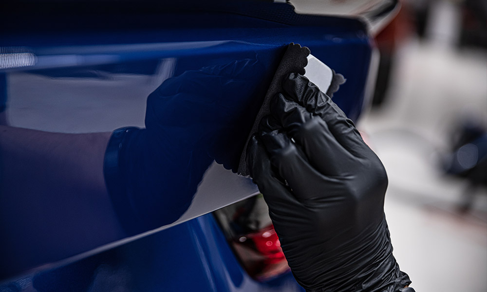 Ceramic coating process on the back of a car